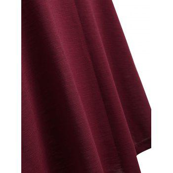 Plus Size Open Shoulder Tie Sleeve Top - RED WINE L