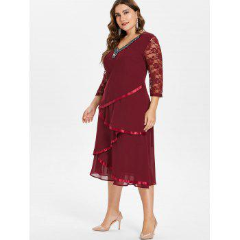 Plus Size V Neck Beaded Tiered Dress - RED WINE 1X