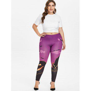 Halloween Plus Size Pumpkin Lamp Leggings - PURPLE 4X