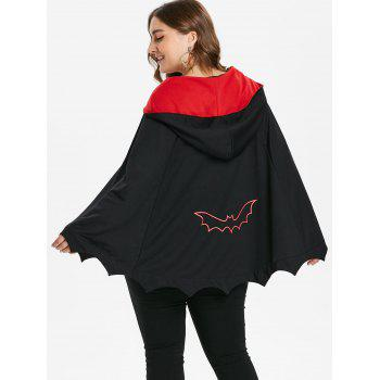 Plus Size Two Tone Halloween Batwing Coat - BLACK L
