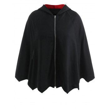 Plus Size Two Tone Halloween Batwing Coat - BLACK 1X