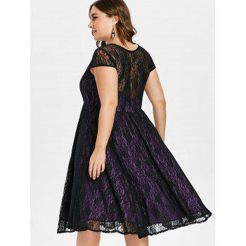 Plus Size Floral Lace Overlay Dress - PURPLE 4X