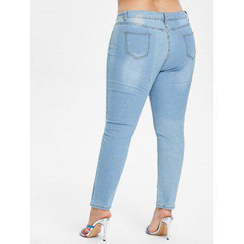 Plus Size Butterfly Embroidered Zipper Jeans - JEANS BLUE 4X