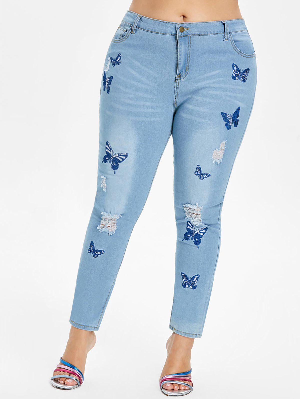 Plus Size Butterfly Embroidered Zipper Jeans - JEANS BLUE 5X