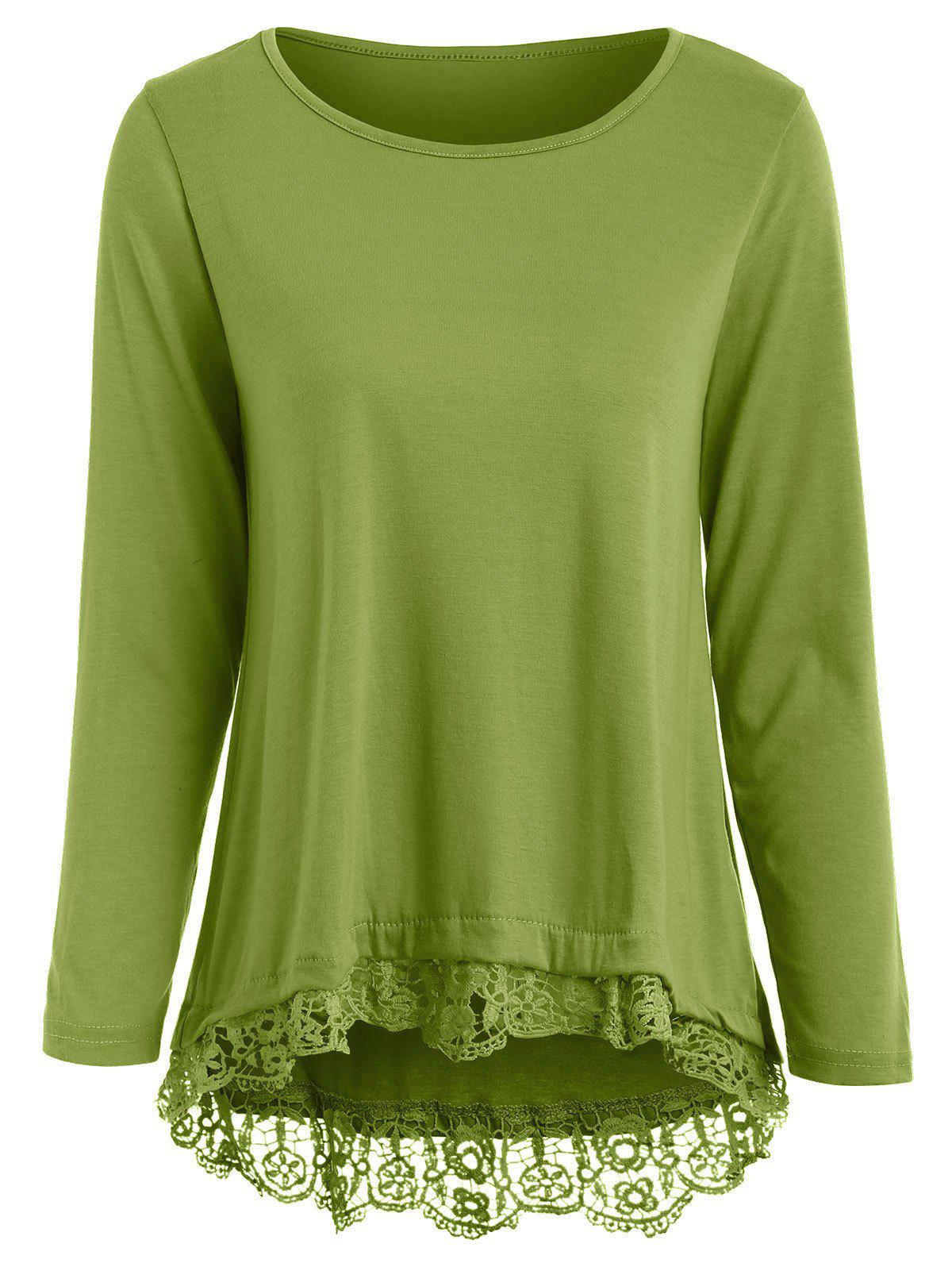 Charming Lace Spliced Hem Long Sleeve Solid Color T-Shirt For Women - ARMY GREEN L