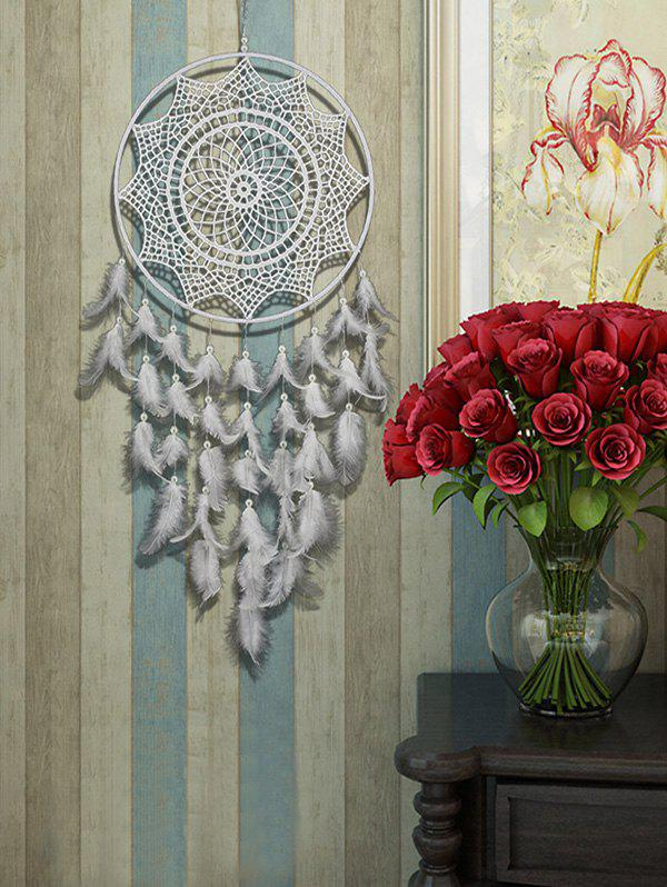 Handmade Wall Hanging Feather Dream Catcher - WHITE 85*30CM