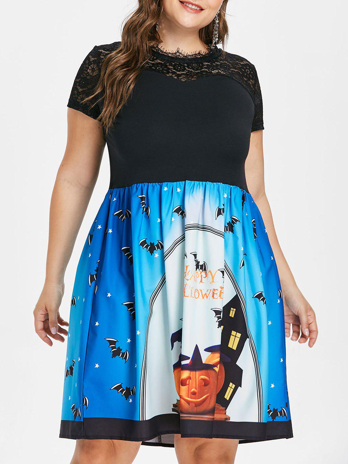 Plus Size Halloween Lace Yoke Dress - BLACK 4X