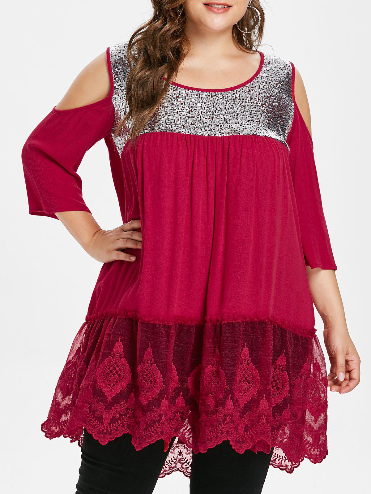 Lace Hem Plus Size Back Cut Out Blouse - FIRE ENGINE RED 1X