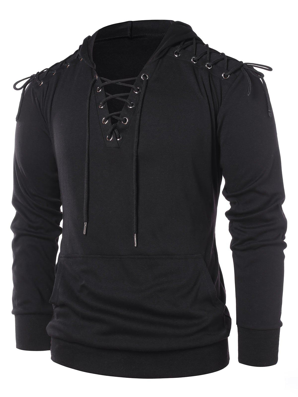 Lace Up Pullover Hoodie - BLACK M