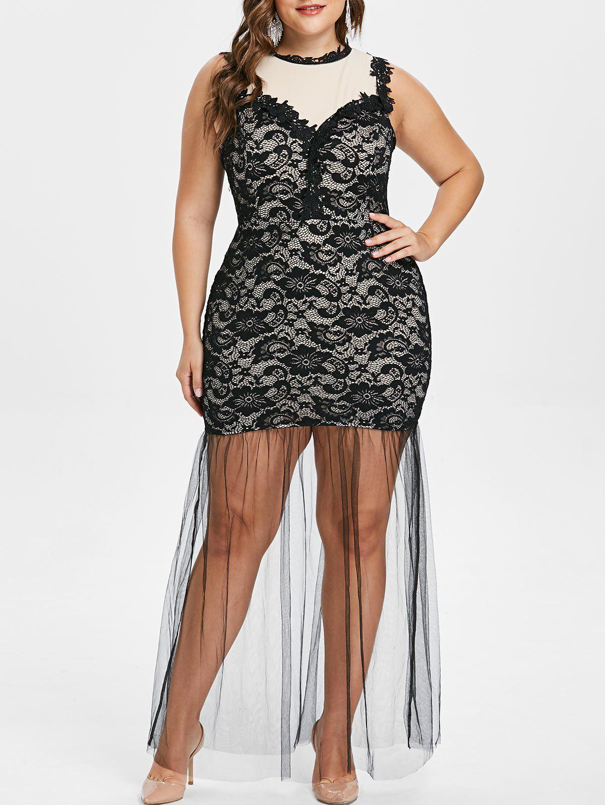 Plus Size Sleeveless Lace Bodycon Dress - BLACK 3X