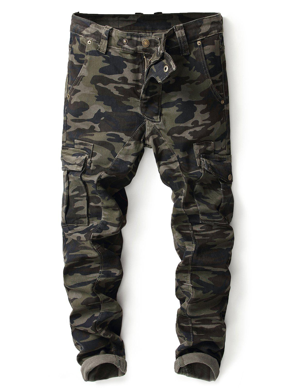 Camo Zip Fly Multi-pocket Jeans - ACU CAMOUFLAGE 34