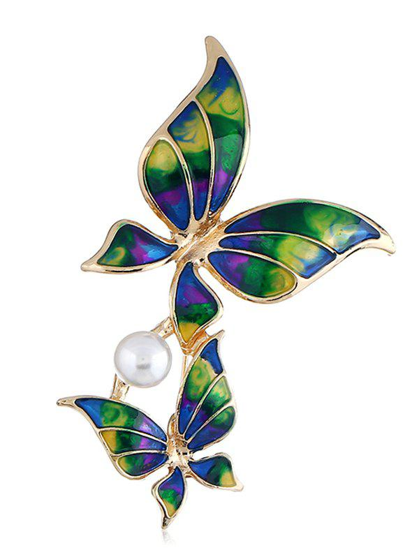 Artificial Pearl Butterfles Design Brooch - DEEP GREEN