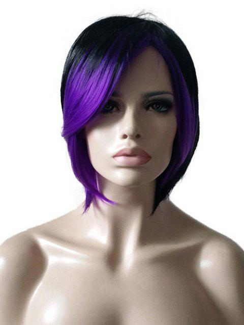 Short Colormix Inclined Fringe Straight Synthetic Wig - multicolor