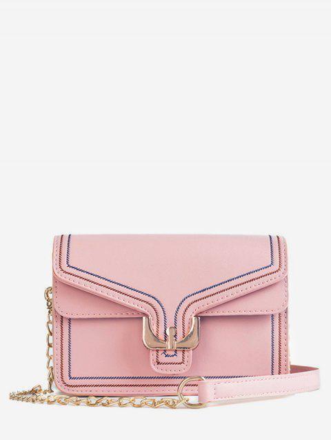 PU Leather Buckle Crossbody Bag - PINK