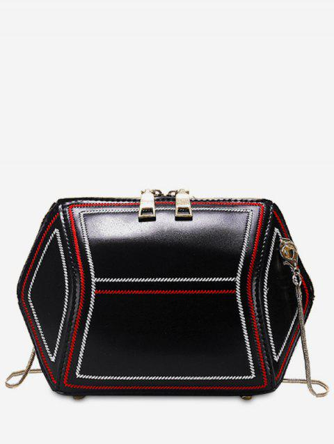 Zip Geometric Shape Crossbody Bag - Noir