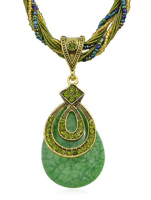 Water Drop Artificial Gem Layered Beads Chain Necklace - GREEN