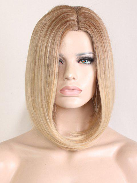 Medium Side Parting Colormix Straight Bob Heat Resistant Synthetic Wig - multicolor