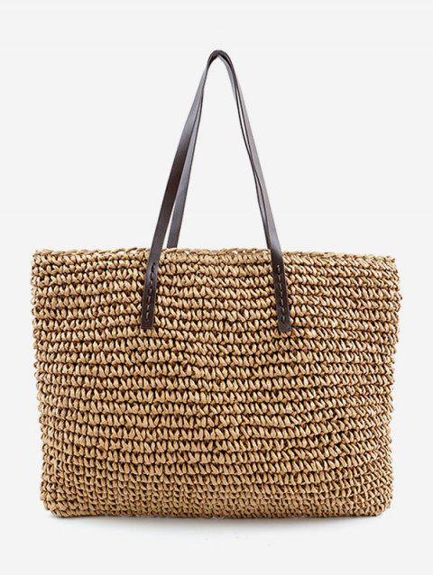 Straw Braided Beach Shoulder Bag - APRICOT