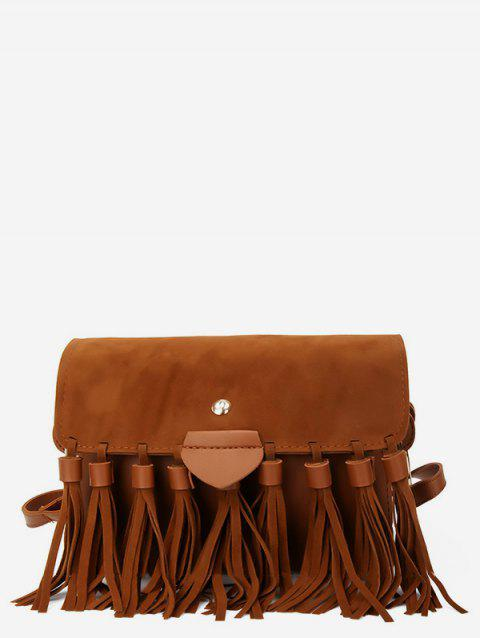 Suede Tassel Crossbody Bag - BROWN