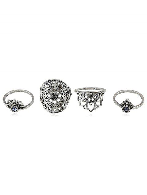 Rhinestone Hollow Flower Rings Set - SILVER ONE-SIZE