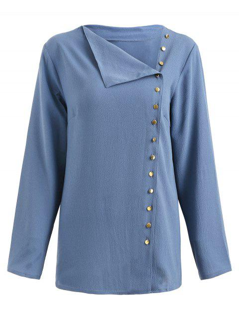 Button Up Skew Collar Blouse - LIGHT STEEL BLUE S