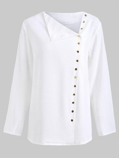 Button Up Skew Collar Blouse - WHITE M