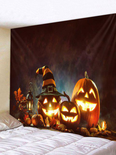 Evil Halloween Pumpkin Printed Tapestry Wall Art Decoration - RED W79 INCH * L71 INCH