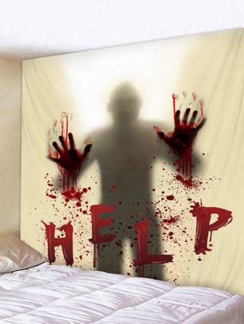 Halloween Blood Hand Help Print Tapestry Wall Art Decoration - multicolor W79 INCH * L71 INCH