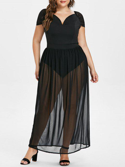 Off The Shoulder Plus Size Mesh Panel Maxi Dress - BLACK L