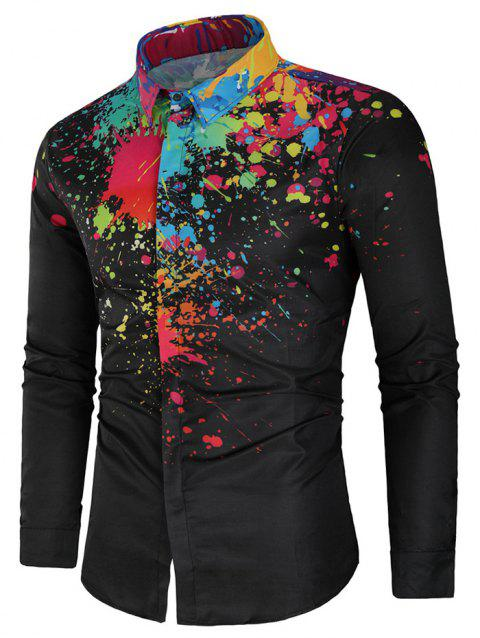 Paint Splatter Long Sleeve Shirt - BLACK XL