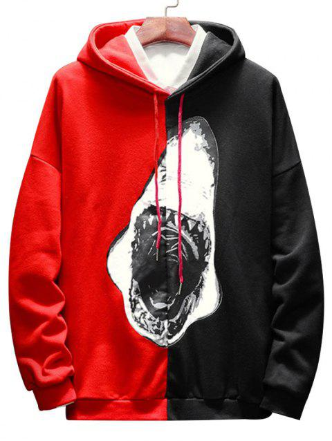 Contrast Color Shark Print Pullover Hoodie - RED XL