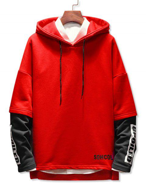 Faux Two Pieces Letter Printing Drawstring Hoodie - RED 2XL