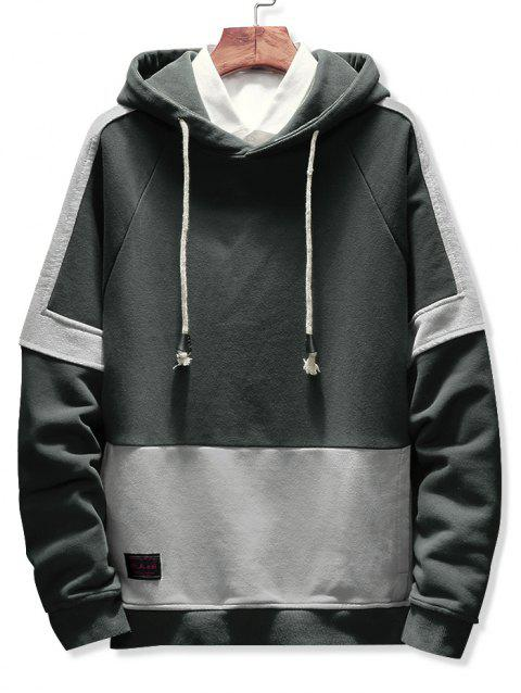 Color Block Splicing Drawstring Hoodie - GRAY 2XL
