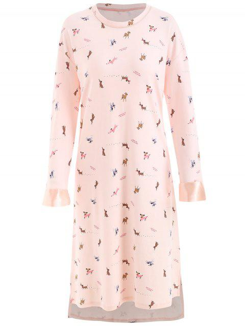 Dog Print Nightgown Dress - LIGHT PINK 2XL