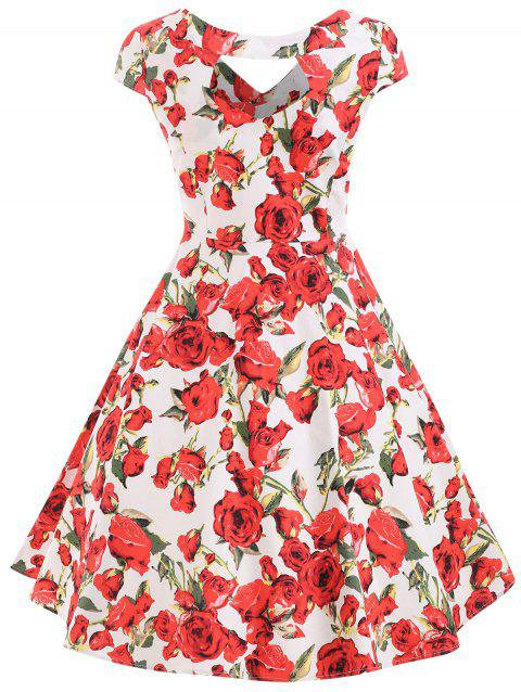 Full Floral Printed Fit and Flare Dress - MILK WHITE 2XL