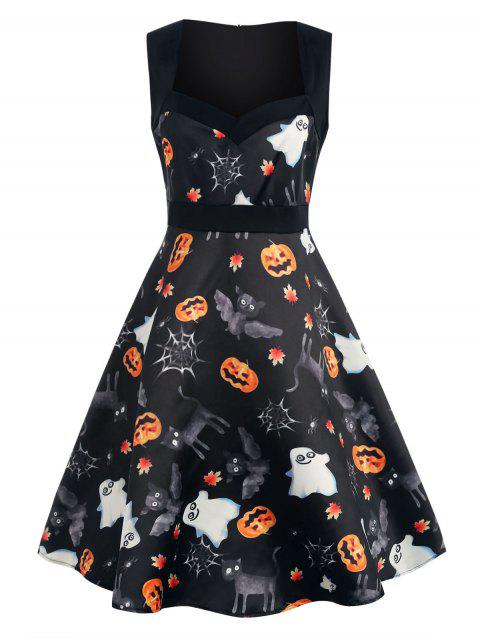 Halloween Print Sleeveless Fit and Flare Dress - BLACK M