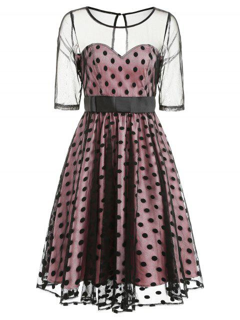 Retro Mesh Panel Polka Dot Flare Dress - BLACK M