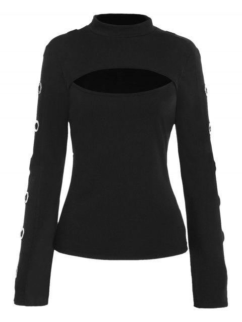 Long Sleeve Cutout T-shirt with Grommets - BLACK M