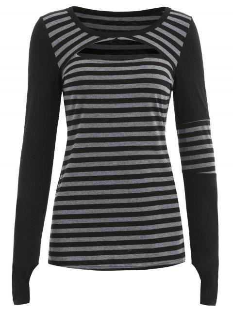 Cut Out Front Long Sleeve Striped T-shirt - BLACK M