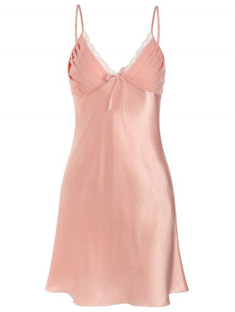Satin Lace Insert Slip Pajamas Dress - LIGHT PINK ONE SIZE