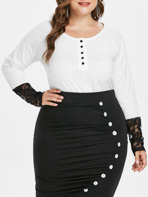 Plus Size Lace Detail Two Tone T-shirt - WHITE L