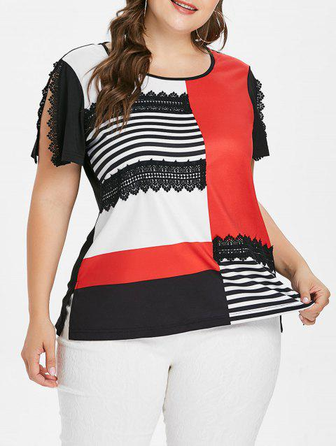 Striped Panel Color Block Plus Size T-shirt - BLACK 2X