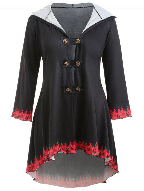 Plus Size Hooded High Low Coat - BLACK 2X