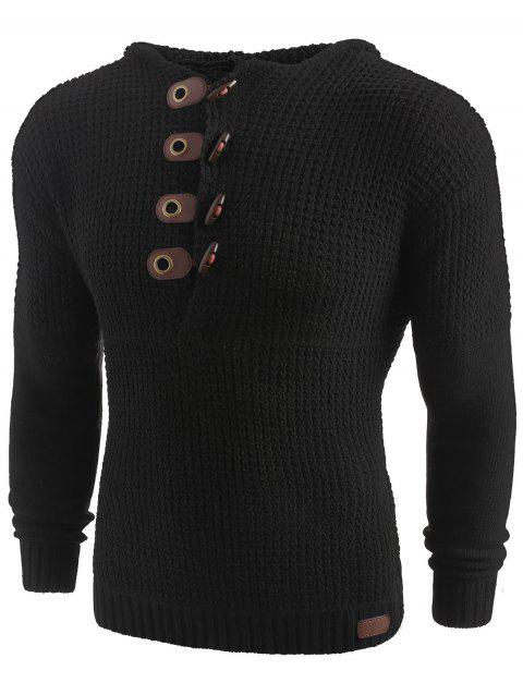 Solid Color Claw Button Hooded Sweater - BLACK L