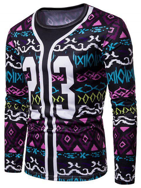 Number Print Faux Two Pieces Long Sleeve T-shirt - multicolor 2XL