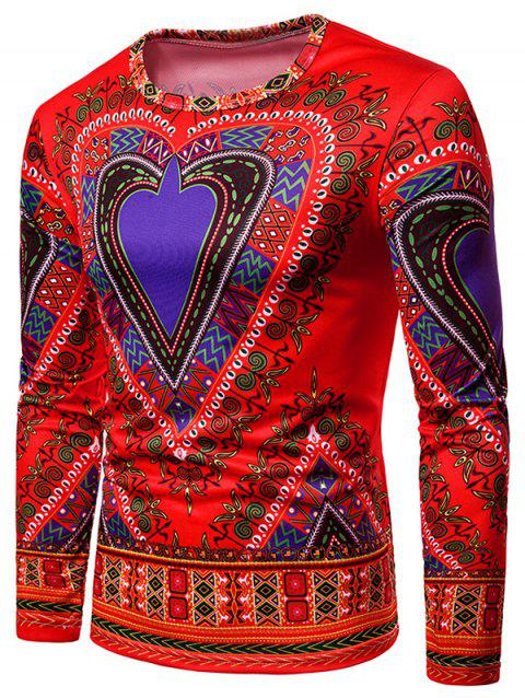 Round Neck Love Heart Geometrical Printed T-shirt - RED L