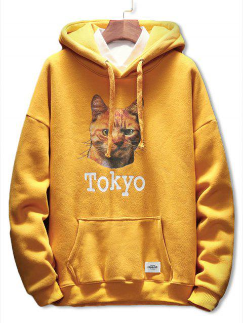 Cat Letter Print Pocket Drawstring Hoodie - YELLOW 3XL