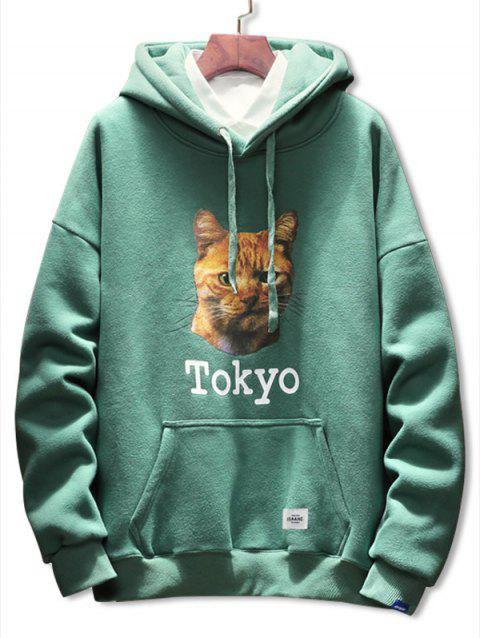 Cat Letter Print Pocket Drawstring Hoodie - GREEN M