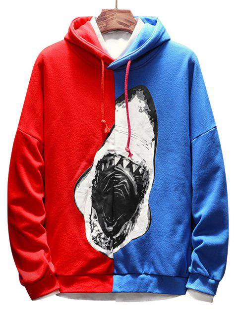 Contrast Color Shark Print Pullover Hoodie - BLUE 2XL