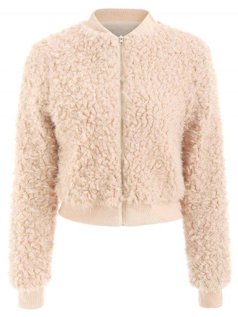 Stand Up Collar Faux Fur Jacket - BEIGE M